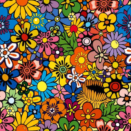 Illustration for Vivid, colorful, repeating floral background - Royalty Free Image