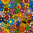 Vivid, colorful, repeating floral background...
