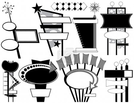Illustration for Nine Black and White Retro Advertising Signs - Royalty Free Image