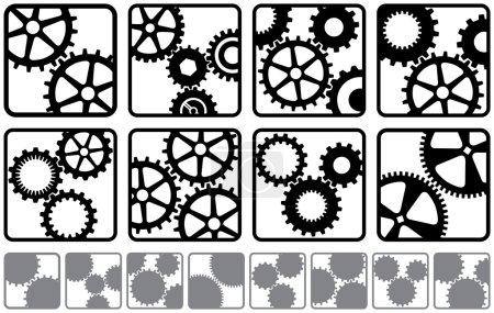 Illustration pour Une variété de logos de rouage - image libre de droit