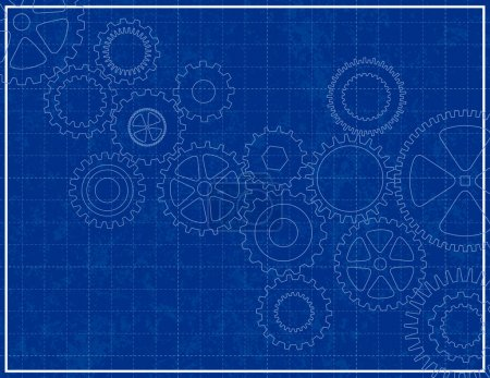 Illustration for Blueprint Background with cogs - Royalty Free Image