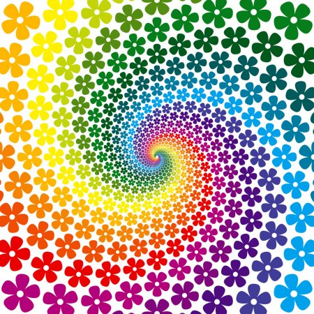 Illustration for Colorful Flower Spiral Background - Royalty Free Image