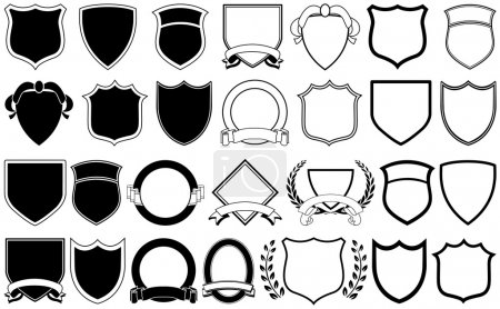 Various shields and crests...