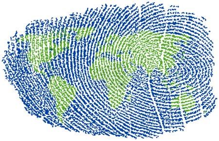 Illustration pour Carte du monde représentée par une empreinte digitale - image libre de droit