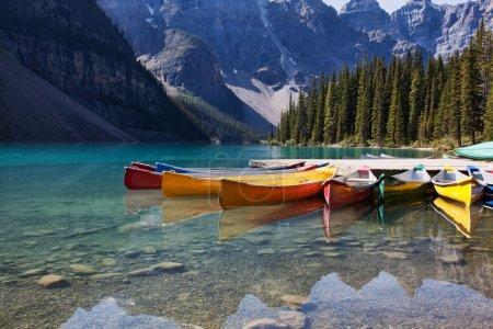 Photo pour Matin léger sur des pirogues colorées le long de la rive du lac moraine, banff national park, alberta, canada. - image libre de droit