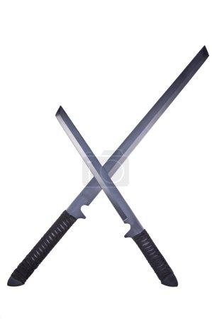 Two crossed ninja swords