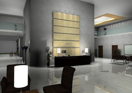 Photo for Modern design interior of hall,corridor.3d rendered - Royalty Free Image