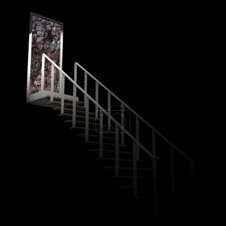 Foto de Escalera hacia el callejón de la pared de roca en la oscuridad. - Imagen libre de derechos
