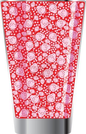 Illustration for Strawberry juice illustration made in adobe illustrator - Royalty Free Image