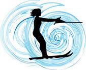 Water skiing woman vector illustration