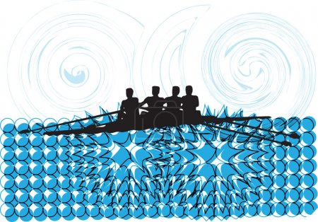Rowing. Vector illustration