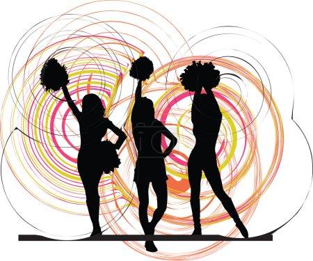 Cheerleaders. Vector illustration