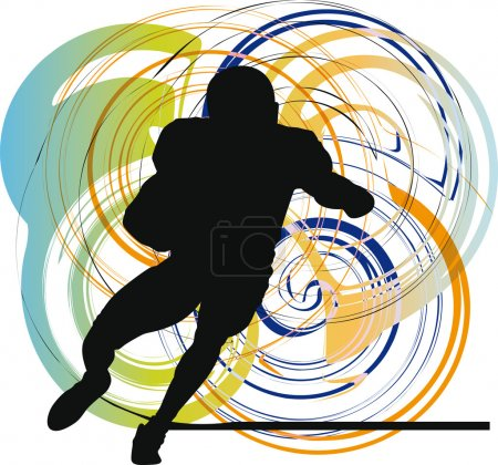 American football player in action. Vector illustration