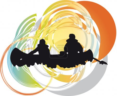 Illustration for Kayaking in river. Vector illustration made in adobe illustrator - Royalty Free Image