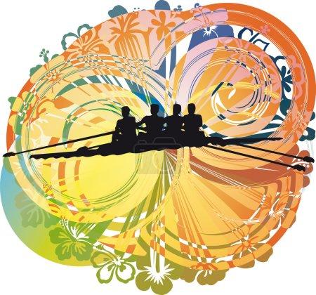 Rowing. Vector illustration