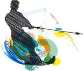 Water skiing man vector illustration made in adobe illustrator