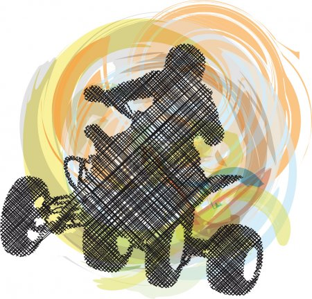 Sketch of Sportsman riding quad bike. Vector illustration