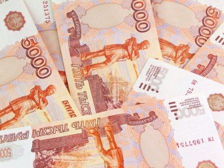 Photo pour Milliers de roubles russes dénominations sur cinq mille - image libre de droit