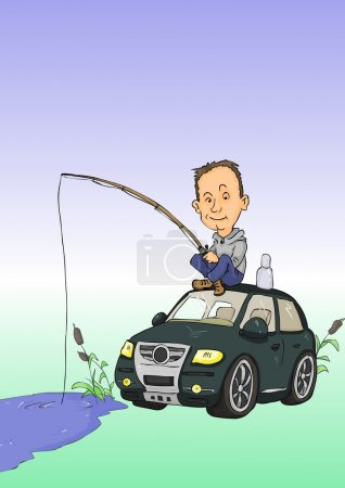 Illustration for Man with fishing rods sitting on car roof - Royalty Free Image