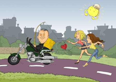 Illustration for Conceited man driving a motorcycle and two women running after him - Royalty Free Image