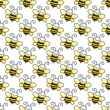 Photo pour Bourdons de dessin animé souriants jaunes et noirs sur fond blanc - image libre de droit