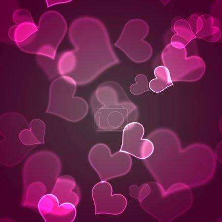 Photo pour Coeurs de bokeh rose chaud avec accents blancs - image libre de droit