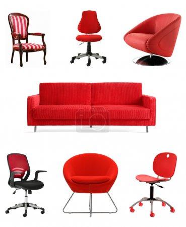 Photo pour Collection de meubles isolé rouge - image libre de droit