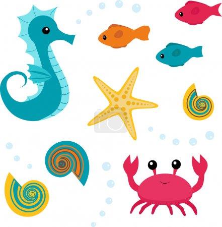 Cartoon sea life set 3