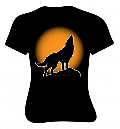 Lonely wolf howling on the full moon. T-shirt
