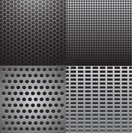 Ilustración de Vector ilustración de cuatro texturas de metal gris - Imagen libre de derechos