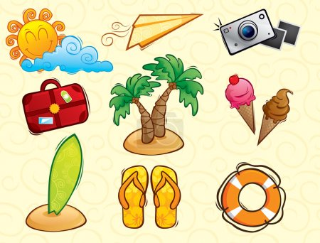 Illustration for A set of icons with the theme of summer vacation - Royalty Free Image