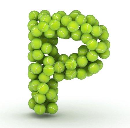 Letra P, alfabeto de pelotas de tenis