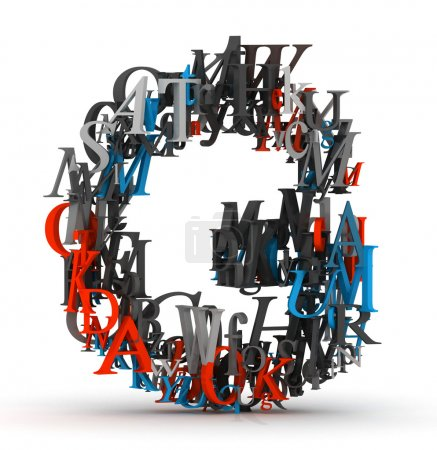 Letter G, alphabet from pile of 3D letters...