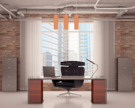 Office with a black chair