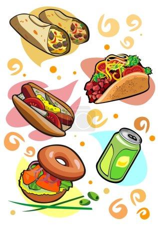Illustration pour Délicieuses collations burrito taco bagel limonade Hot-Dog - image libre de droit