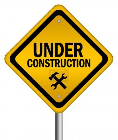 Photo pour Sous construction signe isolé sur blanc - image libre de droit