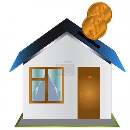 Illustration for Moneybox in the form of the house with coins - Royalty Free Image