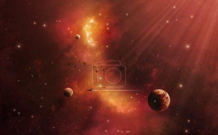Photo pour Voyage imaginaire dans l'espace vers les autres mondes - image libre de droit