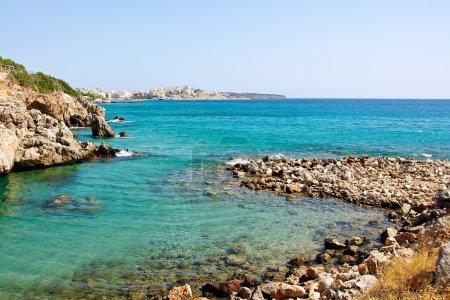 The stony beach.