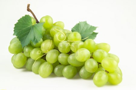 Photo for Fresh green grapes with leaves. Isolated on white - Royalty Free Image