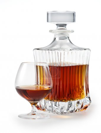 Cognac. Brandy Glass and bottle on white. clipping path