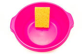 Pink cube with sponge