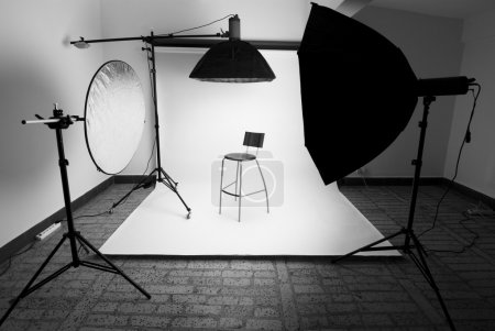Photo for Photo studio setup with lighting equipment - Royalty Free Image