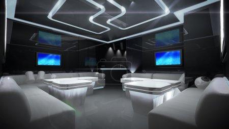 Photo pour Le design intérieur de la boîte de nuit avec le thème de style cybernétique - image libre de droit