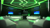 Green cyber interior room