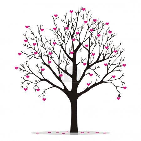 Illustration pour Arbre de Saint-Valentin, amour, feuille de cœur - image libre de droit