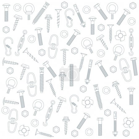Illustration for Seamless background by nuts and bolts - Royalty Free Image
