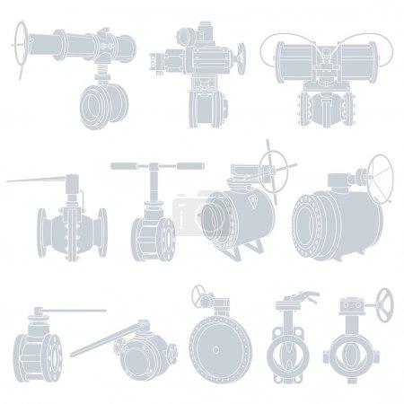 Valves. Vector Illustrations