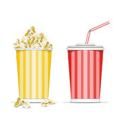 Full glass with drink and popcorn vector illustration isolated on white bac