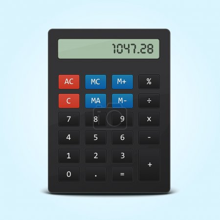 Vector pocket calculator isolated on blue
